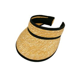 Large brim summer hats online shopping - Woman Straw Sun Visor Hats Foldable Wide Large Brim Sun Protection Cap Fashion Travel Beach Empty Top Cap LJJT614