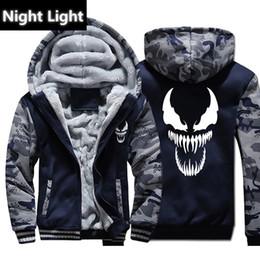 Cool Sweatshirt Jackets Canada - Venom Hoodies Men Movie Night Light Hooded Sweatshirts Harajuku Coat Winter Thick Fleece Jacket Cool Noctilucent Streetwear