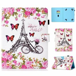 universal bikes NZ - Universal For 7 8 10 inch Tablet Samsung Galaxy Tab iPad Tablet PC Cartoon Leather Wallet Case Sea Bike Panda BookSelf Owl Cards Cover 1pcs
