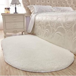 Red Bedside Tables Australia - Thick Oval Silky Mat Bedroom Rug Carpet Living Room Rug Coffee Table Floor Hallway Door Mat Bedside Bathroom Slip Mats D19010902