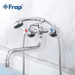 brass wall NZ - wholesale Bathroom Shower Faucets Hot and Cold Water Brass Wall Mounted Mixer Shower Set Tap Chrome Shower Crane Torneiras F2220