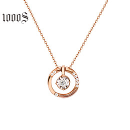 $enCountryForm.capitalKeyWord Australia - Classic Double Circle Shaped Pendant Necklace In 18K Real Gold, 18K Solid Rose Gold Round Pendant Chain Necklace