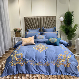 royal blue bedding 2019 - Blue Green Luxury European Palace 100S Egyptian Cotton Bedding Set Gold Royal Embroidery Duvet Cover Bed sheet Linen Pil