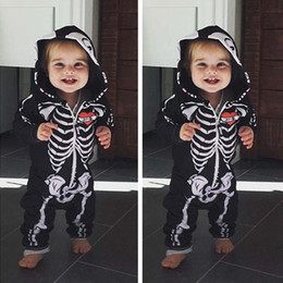 jumpsuits rompers for babies Australia - Baby Halloween Costumes For Kids Skull Skeleton Baby Rompers Hooded Newborn Clothes For Boys Girls Jumpsuit Toddler ClothingMX190912