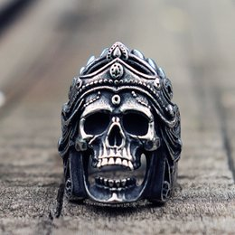 skull rings for boys 2019 - Mens Boys Mahakali Helmet Skull Biker Rings Vintage 316L Stainless Steel Ring Punk Rock Jewelry Gift for Him