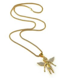 mens angel wings pendant NZ - Diamond Wings Angel Pendant Necklace Hot Mens Hip Hop Necklaces Charm Color Gold Chain Womens Necklaces Hip Hop Bling Jewelry Lover Gifts