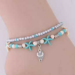 charms for bangles NZ - Bohemia Retro Vintage Fashion Jewelry Accessorines Turquoise Beads Owl Starfish Chains Anklets Charm Multilayer Bracelets Bangles For Women