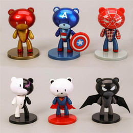 China 6 Pcs Lot 10CM The Avengers 6 Designs Action Figures Edition Q Bear Union Iron Man Spider-Man Superman Super Heroes Doll cheap spider man dolls figures suppliers