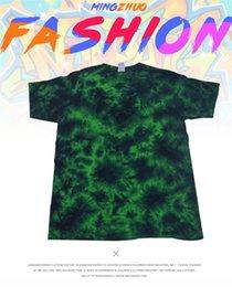 Mens Tshirts Army Green Australia - Tie Dye Green Unisex Tshirts Crew Neck Short Sleeve Mens Tshirt Loose Relaxed Womens Clothing Wholesale