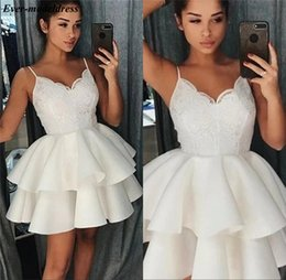 white rayon prom dress UK - Short Graduation Dresses 2019 Lace Appliques Spaghetti Straps Tiered Mini Homecoming Dresses Prom Gowns Plus Size Cheap