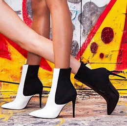 $enCountryForm.capitalKeyWord NZ - 2019 Spring Comfortable Slim Fashion Short Boots Black White Mosaic pattern High Heels Boots Thin Heels Sexy Sandals 35-40