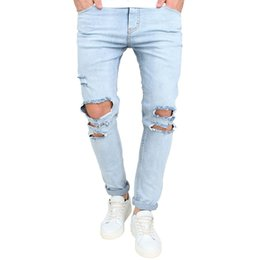 bafdff28 Men's Ripped Slim Fit Straight Denim Motorcycle with Broken Holes  Younger-Looking Pants