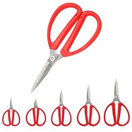 Kitchen Scissors Stainless Australia - 5pcs lot Red handle household kitchen scissors 3Cr13 stainless steel scissors paper cutting shear nail cutter