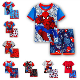 China 2017 Summer New Hot Kids Pajamas Baby Boys Gilrs Clothing spider-man Costume Short Sleeve Pijamas children Sleepwear Pajamas Set cheap pijamas costume suppliers