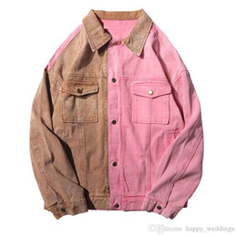 $enCountryForm.capitalKeyWord NZ - Vintage Color Block Patchwork Pink Denim Jackets Nice Men Hip Hop Bomber Jean Coat Fashion Jeans Jackets Streetwear