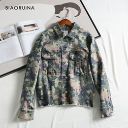 Wholesale military style jacket xl woman for sale – winter BIAORUINA Women s Military Style Comflagure Printing Denim Jacket Coat Female Single Breasted Loose Jacket Turn down Collar T200407