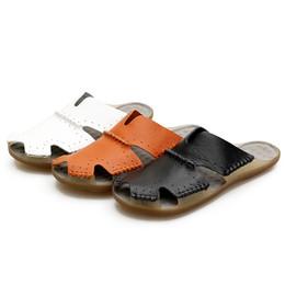9f13a3ecba3 Sandals men summer slippers beach genuine leather fashion sandal designer  terlik pantuflas mens shoes Male white black orange  56970