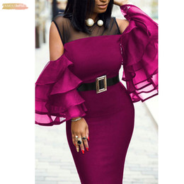 womens african dresses Australia - Plus Size African Womens Party Dress Spring And Flutter Sleeve Summer New Perspective Tight-Fitting Hip Dress Sexy Stitching Sexy Dress