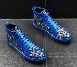 newest quinceanera dresses Australia - Newest high quality Designer Men's Rivet embroidery lace-up flats shoes Male Formal Dress Quinceanera Platform Shoes for man Ankle boots