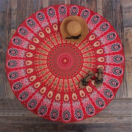 Discount wall mats - Round Hippie Mandala Peacock Flower Indian Tapestry Wall Hanging Bohemian Beach Towel Polyester Thin Blanket Yoga Shawl