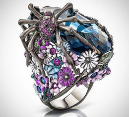 women flower ring Australia - 2019 New Fashion Silver Plated Creative Spider Flower Vintage Ring for Women Party Anniversary Blue Gem Rings Jewelry