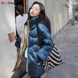 light blue wool winter coat Australia - BOoDinerinle New Blue Shiny Women's Jacket Women Plus Size Loose Down Jacket Women Light White Duck Down Coat Winter 2019 SH190930