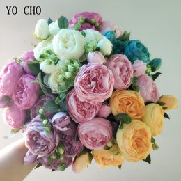 Fake Flowers Cheap NZ - Cheap & Dried YO CHO Artificial Roses Peony Fake Flowers Silk Peonies Bouquets Pink White Wedding Party Artificial Decoration Flowers