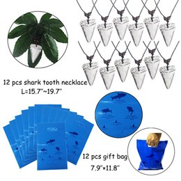 $enCountryForm.capitalKeyWord Australia - Shark Party Favor Supplies Pack Shark Tooth Necklace Tattoo Sticker Gift Bag Bracelet for Kids Under the Sea Goody Bags