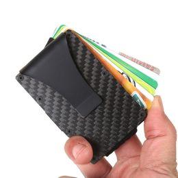 $enCountryForm.capitalKeyWord Australia - Black Carbon Fiber Money Clip Upgrade Version RFID Blocking Wallet Slim Design Credit Card Business Card ID Holder For Men Free DHL 516