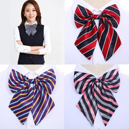 girl bowties UK - New Striped Ladies Bowtie Classic Shirts Bow Tie For Women Business Wedding Bowknot Plaid Bow Ties Butterfly Girls Suits Bowties