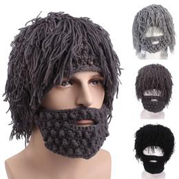 Festival wigs online shopping - 2019 Winter Men Handmade Wig Beard Hats Crochet Mustache Knit Halloween Funny Festival Caps Face Tassel Party Mask Warm Hat