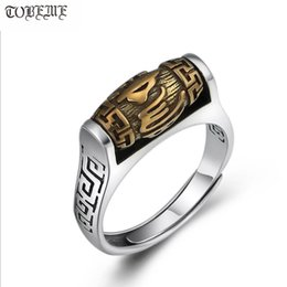 worded rings NZ - Handmade 925 Silver Tibetan Six Words Proverb Ring Turning Ring Good Luck Ring Resizable Y19062004