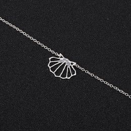 silver seashell bracelet NZ - 5PCS Geometric Origami Sea Clam Shell bracelet Nautical Ariel Mermaid Conch Seashell Chain braceletfor Ocean Beach Party Gifts jewelry