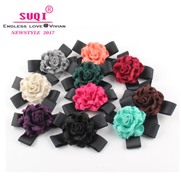 $enCountryForm.capitalKeyWord Australia - Vintage Charms Women Quality Faux Wool Fabric Rose Flower Bow Brooches Handmade Costume Accessories Big Elegant Brooches jewelry accessoires