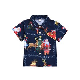 boys matching christmas outfits Australia - Kids Boys Girls Matching short sleeve t-Shirt baby navy Christmas Tops Santa Claus Blouse Happy new year party wear outfit clothing
