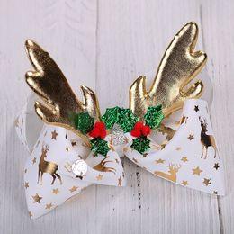 "$enCountryForm.capitalKeyWord Australia - JoJo Bows Girl Hair Clip For Girls Kids 8"" foil Printed Christmas deer horn antler Ribbon Knot Jumbo JOJO Siwa Large Hair Bow 10pcs"
