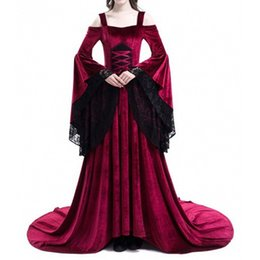 $enCountryForm.capitalKeyWord Australia - Women Plus Size Cosplay Halloween Dress Medieval Palace Princess Dress Adults Women Gothic Queen Long Dress Big Size S-5XL