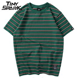$enCountryForm.capitalKeyWord NZ - Harajuku Stripe T Shirt 2018 Men Casual T-shirt Short Sleeve Summer Hip Hop Tshirt Streetwear Casual Tops Tees Black White Green S418
