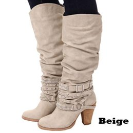 brown high american shoes Australia - European and American style women shoes high boots 2018 plus size spring autumn shoes women boots high heels Rhinestone Motorcycle boots