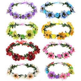 Wholesale Adjustable Flower Crown halo BOHO headbands for women girls wedding party festival maternity family picture Rose Purple Green Blue Champagne
