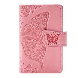 $enCountryForm.capitalKeyWord UK - 2019 Hot new flower butterfly embossed multi-function PU leather phone back stickers credit card wallet pocket