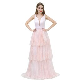 $enCountryForm.capitalKeyWord UK - Blush A line Lace Long Evening Prom Dresses V neck Sequins Beaded Layers Backless Formal Gowns Party Cocktail Dress Cheap Wholesale