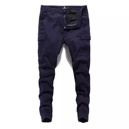 Wholesale european mens clothing sizes online – design Mens Fashion Streetwear Jeans Jogger Pants Solid Pants Denim Cargo Male Long Pants Plus Size Clothing