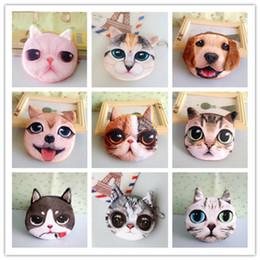 Dog Zipper Australia - 3D Animal Printed wallet 36 styles Lovely purse Cat Dog Animal Face Print Zipper Coin Purses Makeup Mini Bag designer wallet DHL JY232