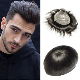 Freestyle Hair Australia - FreeStyle Human Hair Mens Toupee Fine Mono Center With Pu around Hairpieces Replacement System 10X8 inch Mens Wig