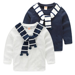 Chinese  Boys T-shirts Autumn Navy Style Baby T Shirt Striped Scarf Handsome Children Tops Casual Kids Clothes Toddler Boy Clothing J190529 manufacturers