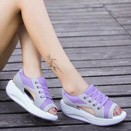 China Summer Women Sandals Casual Mesh Breathable Shoes Women Ladies Wedges Sandals Lace Platform Sandalias Size 40 cheap low wedge leather sandals suppliers