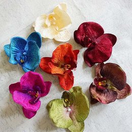 $enCountryForm.capitalKeyWord Australia - 100pcs 11cm High Quality Flannel Artificial Flowers For Christmas Home Decorations Wedding Silk Butterfly Orchid Diy Hat Shoes Y19061103