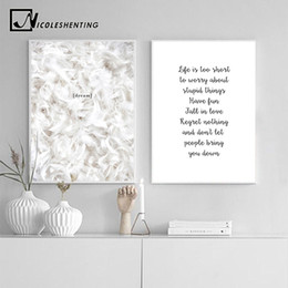 canvas prints paintings NZ - Feather Life Quote Canvas Posters Prints Minimalist Motivational Wall Art Painting Nordic Decoration Pictures Modern Home Decor
