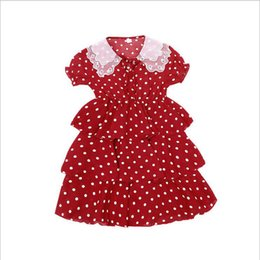 Red White Dresses Australia - Girl Wave Dot Cake Dress 2019 New Summer Web Celebrity Hot Style Children Chiffon Dot Skirt Sweet Contracted Princess Wind Red White 0301